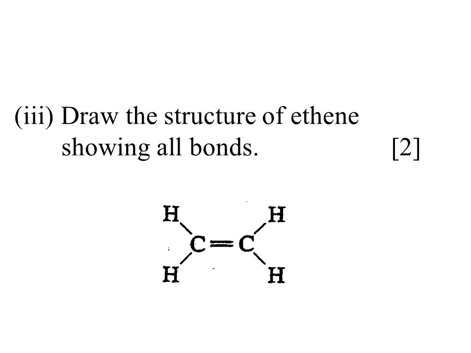 Draw the structure of ethene showing all bonds. [2]